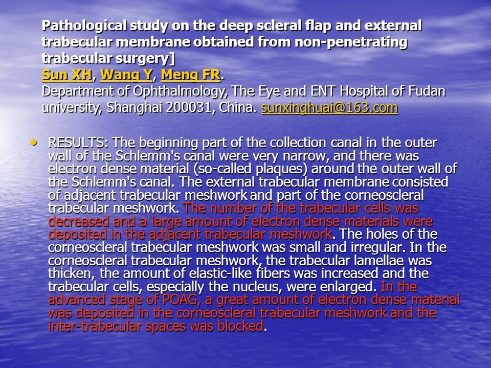 Pathological study on the deep scleral flap and external trabecular membrane obtained from non-penetrating trabecular surgery] Sun XH, Wang Y, Meng FR. Department of Ophthalmology, The Eye and ENT Hospital of Fudan university, Shanghai 200031, China. sunxinghuai@163.com